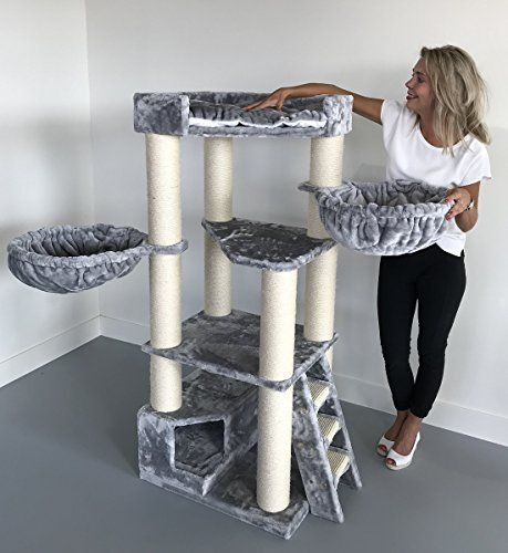 Cat Tree for Large Cats Corner Cat XXL Light Grey 59