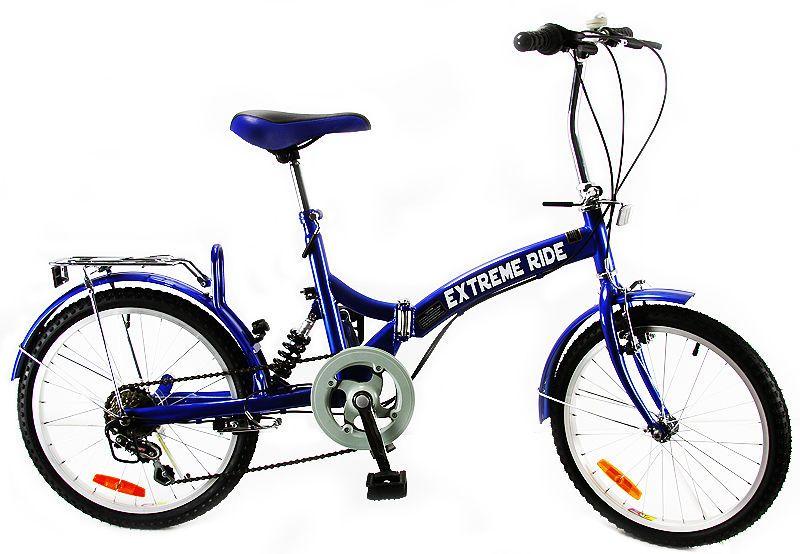 "EXTREME RIDE 20"" CITY FOLDING BLUE BICYCLE SHIMANO 6 SPEED"