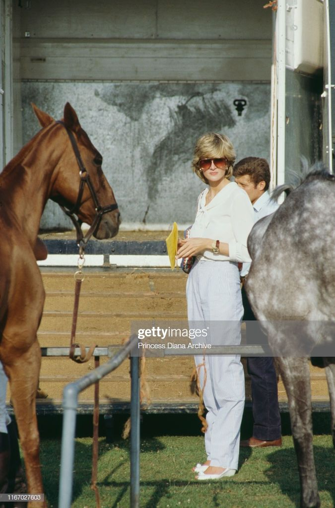 Diana, Princess of Wales attends a polo match at Cowdray Park Polo...
