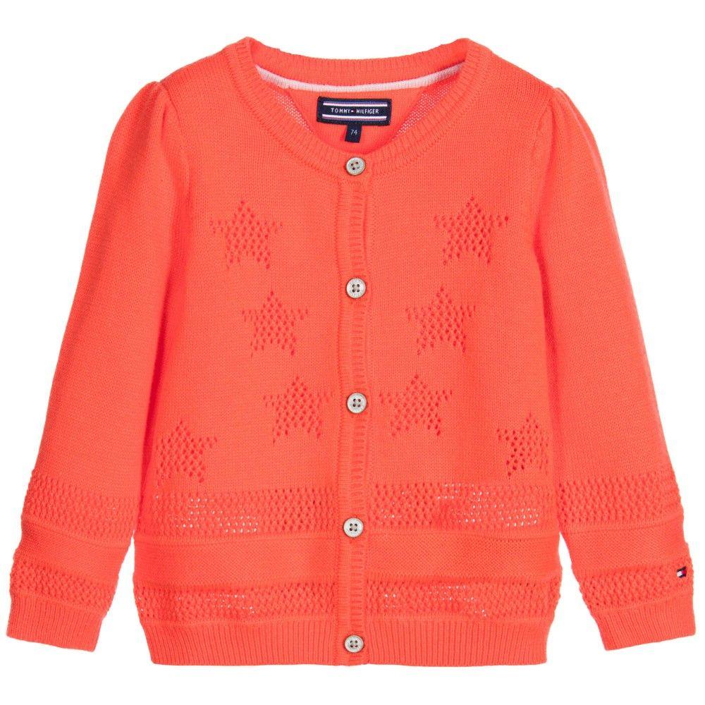 Girls Orange Knitted Cotton Cardigan, Tommy Hilfiger, Girl | TOPS ...