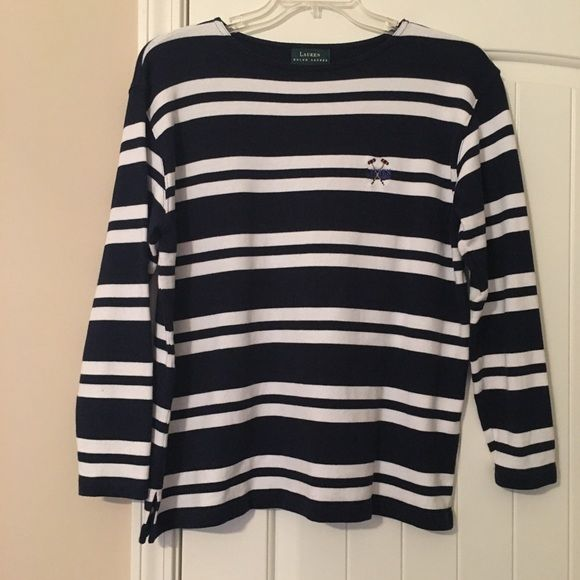 Navy/white striped top EUC Navy & white striped long sleeve top. Heavier weight material. No holes, stains, etc Ralph Lauren Tops Tees - Long Sleeve