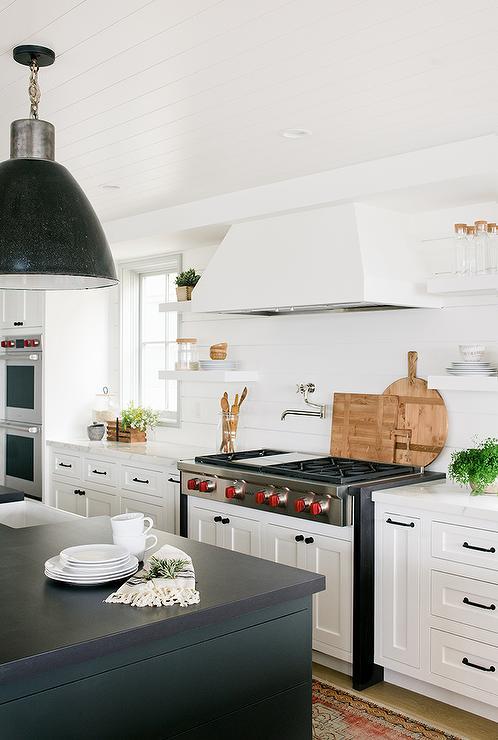 Black Shiplap Island with White Shaker Cabinets - Cottage - Kitchen #whiteshakercabinets
