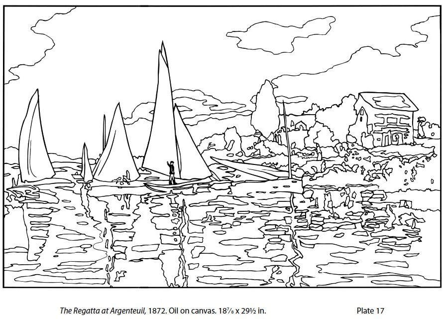 Monet printable coloring pages art hand outs pinterest for Impressionist coloring pages