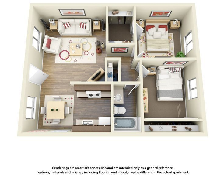 This Is A 2 Bedroom 1 Bathroom 3d Floor Plan Love This One Small House Plans Apartment Floor Plans Apartment Layout