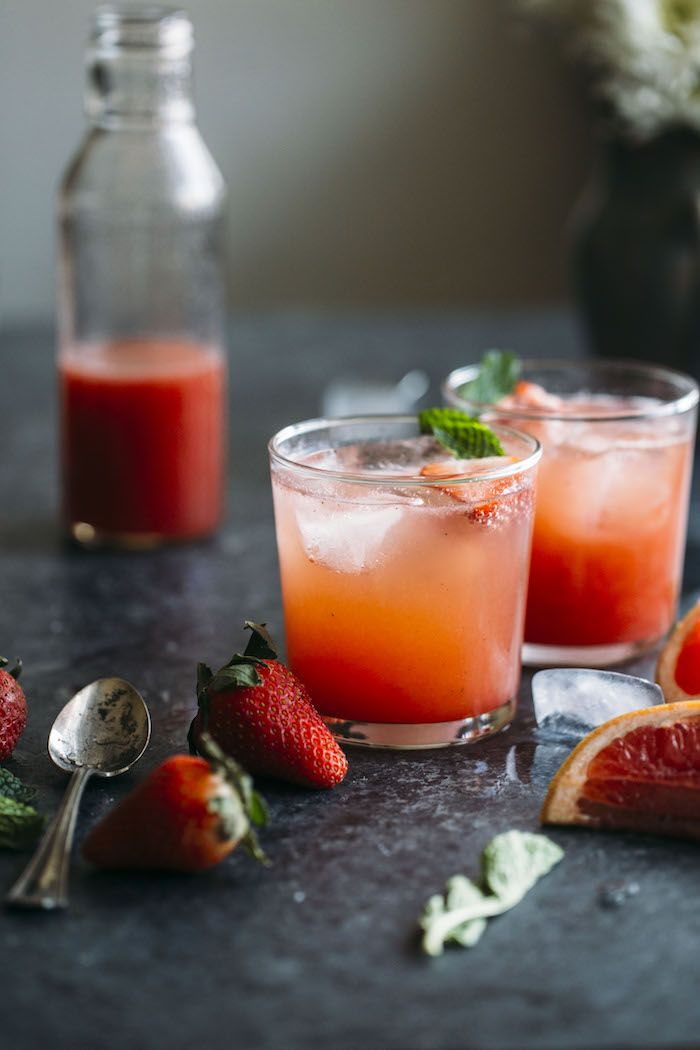 This Strawberry Grapefruit Shrub recipe is a fruity, refreshing nonalcoholic drink that you will love!