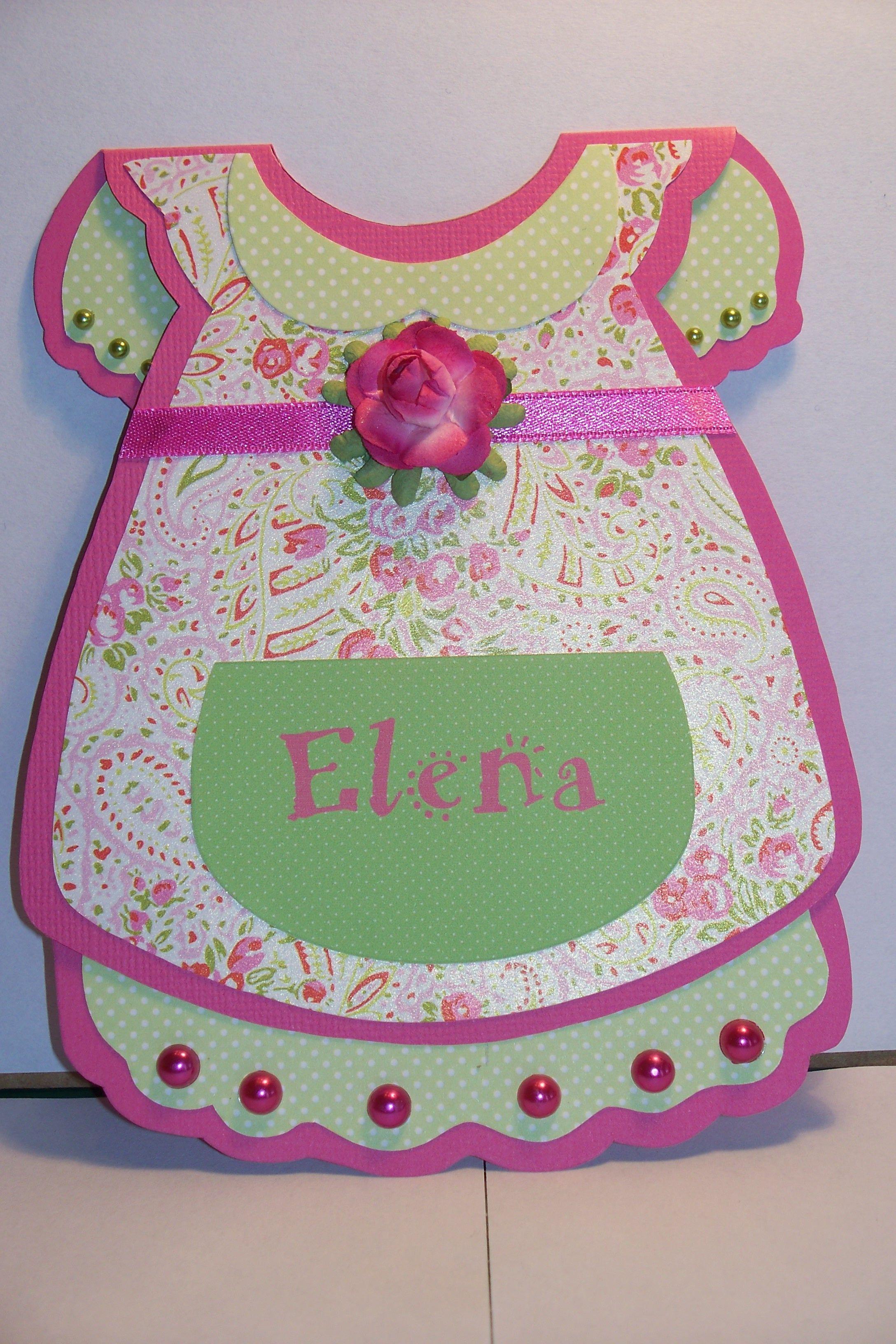 babykaartje in het roze