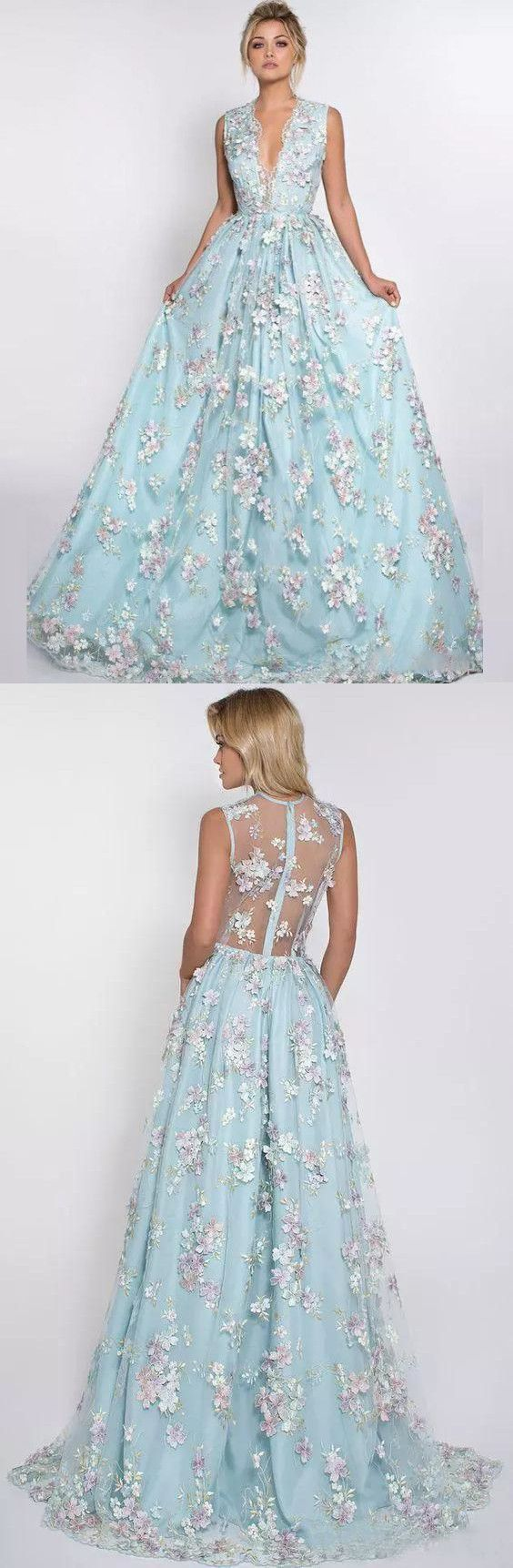 Aline vneck sweep train tulle appliqued prom dresses with flowers