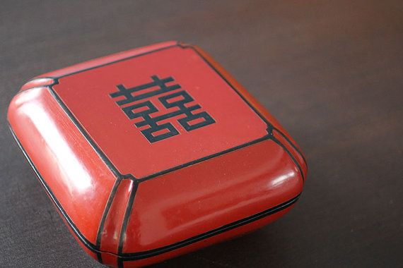 Red Lacquered Chinese Double Happiness Wooden Box