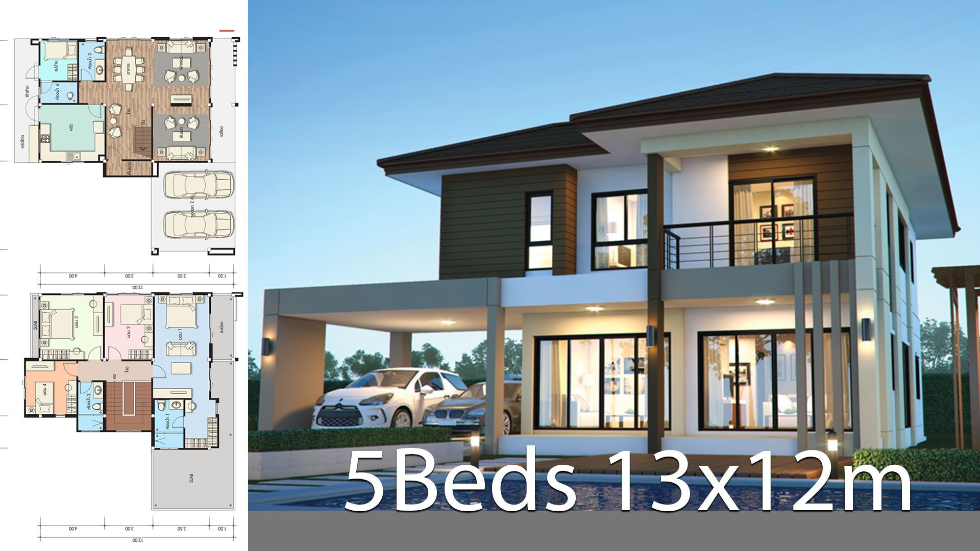 House Design Plan 13x12m With 5 Bedrooms Style Modern Tropicalhouse Description In 2020 Home Design Plans Small House Design House Plans