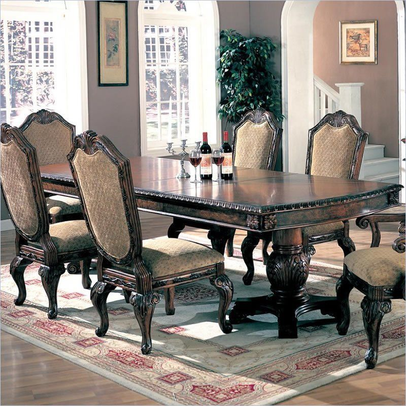 Coaster Saint Charles Dining Table With Double Pedestal In Deep Stunning Coaster Dining Room Furniture Review