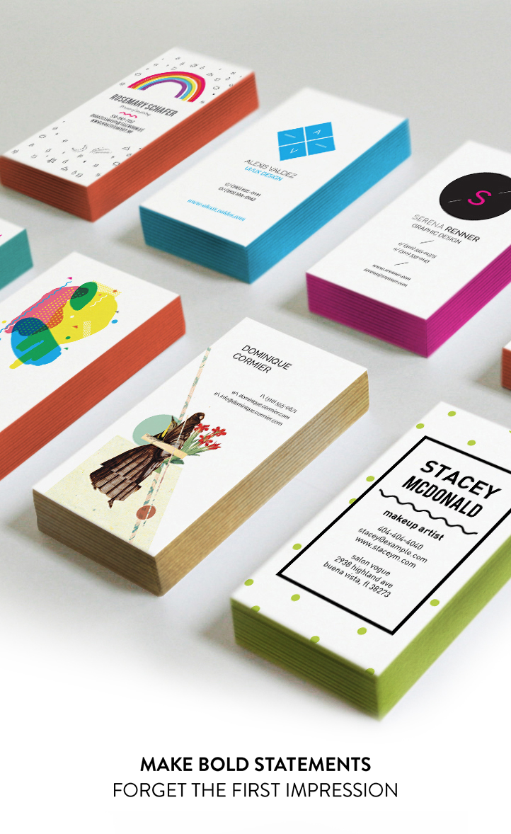 Colorful edge painted business cards - Oubly. Reasonable price for ...