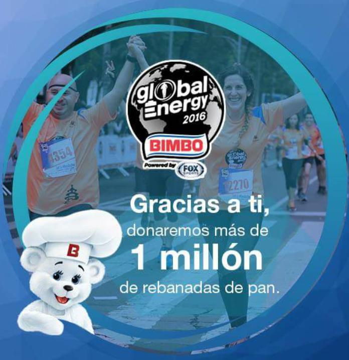 Por cada kilómetro recorrido en  @ GlobalEnergyRace alrededor del mundo, donar 2 rebanadas de pan a bancos de alimentos. 85 mil participantes que hicieron esto posible! Graciass Global Energy 2016 !!! @ BIMBO @ Corri  GlobalEnergyRace @ RunAsOne @  Guinness World Records.