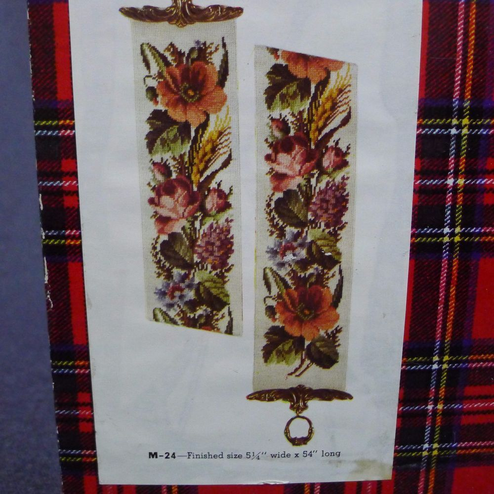 Jean McIntosh Bell Pull Needlepoint Kit Wool Thread Floral