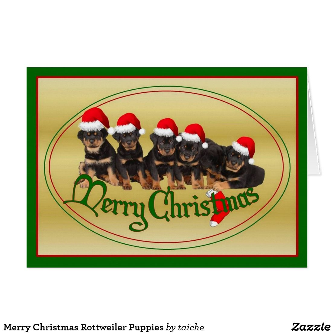 Merry Christmas Rottweiler Puppies Card #S6GTP | Zazzle shop ...