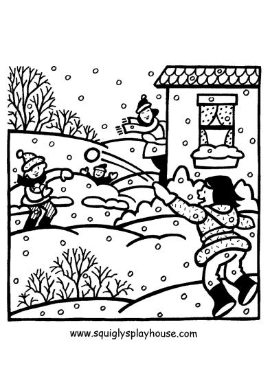 sneeuwballen gevecht kleurplaten winter en sneeuw