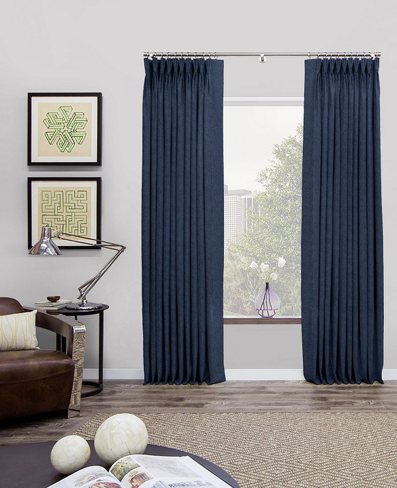 Custom Pinch Pleat Curtains Drapes Material Wool Flannel