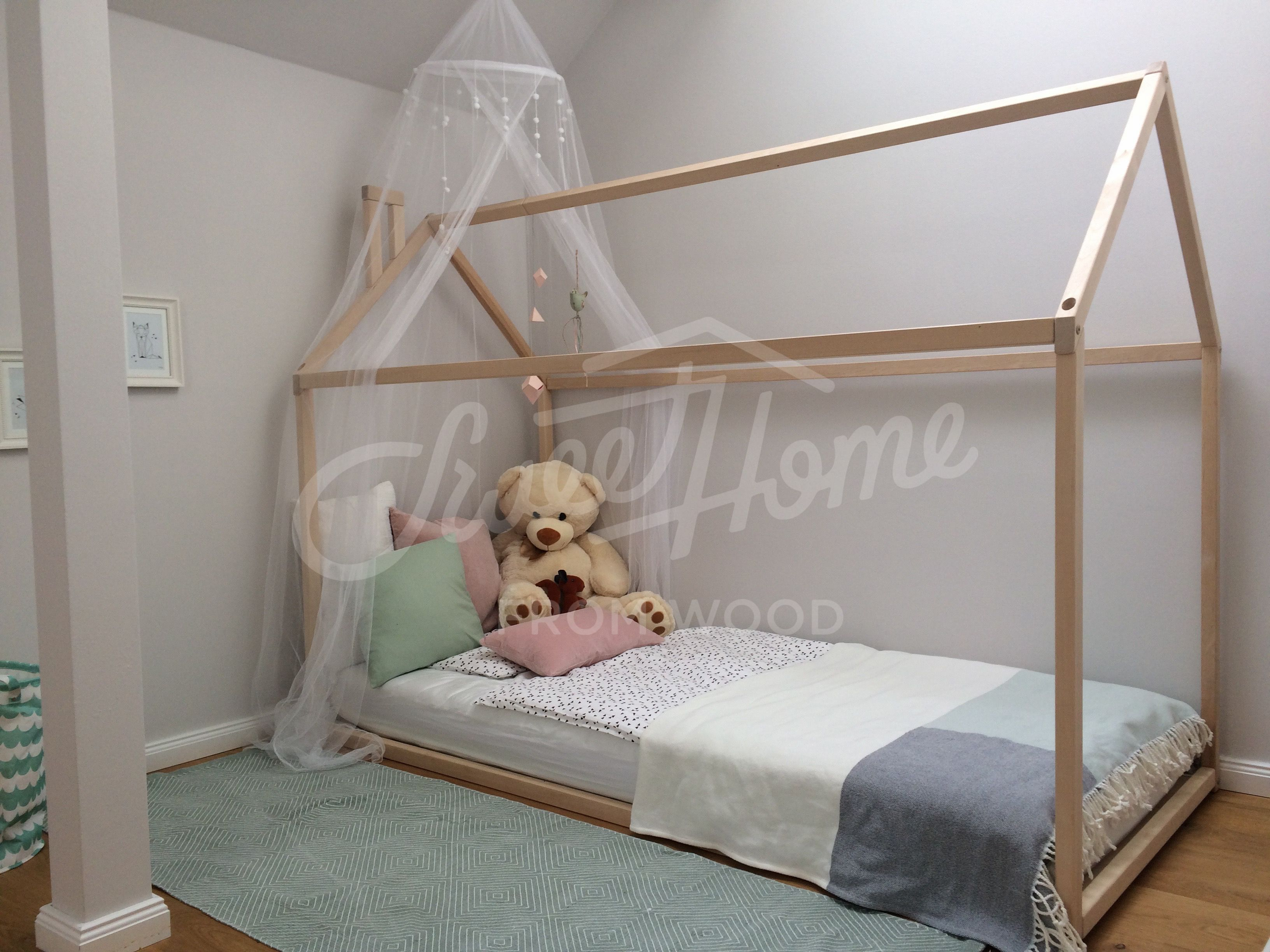 - Toddler Bed, House Bed, Children Bed, Wooden House, Tent Bed Wood