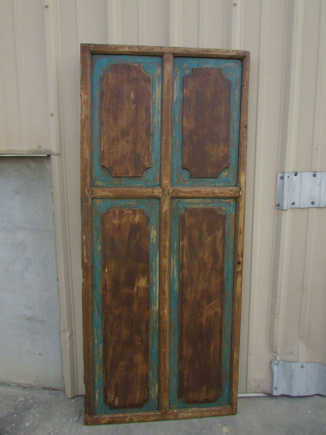 Antique Mexican Old Door Primitive Rustic 32x76 Headboard Table Turquoise Chocolate Brown Barn Doors Old Door Antiques Old Doors