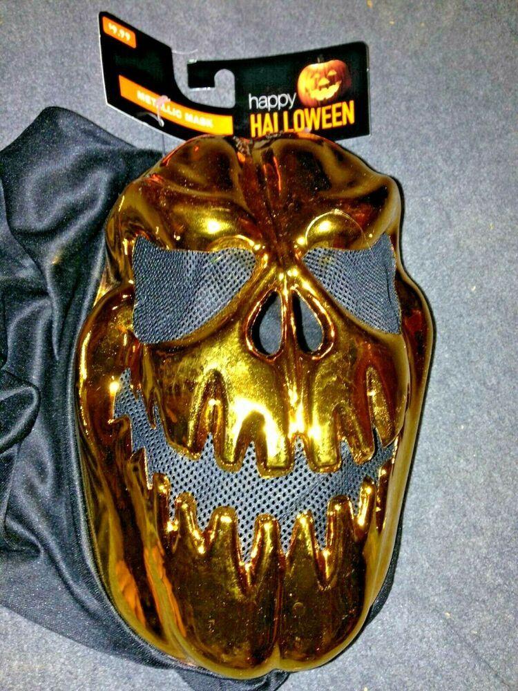 Scary Gold Metallic Ghoul Halloween Mask Costume Cosplay