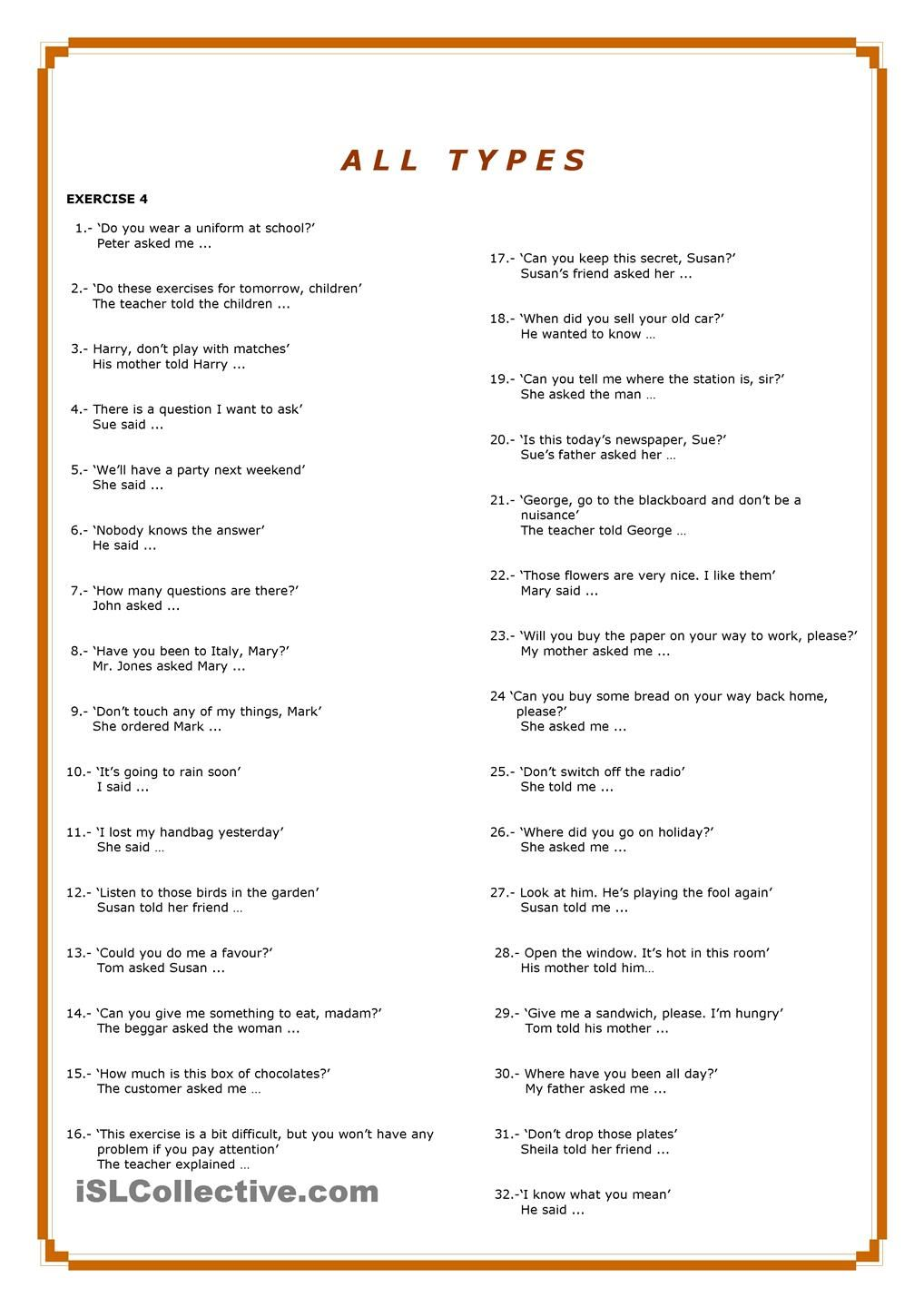 reported speech questions exercises pdf