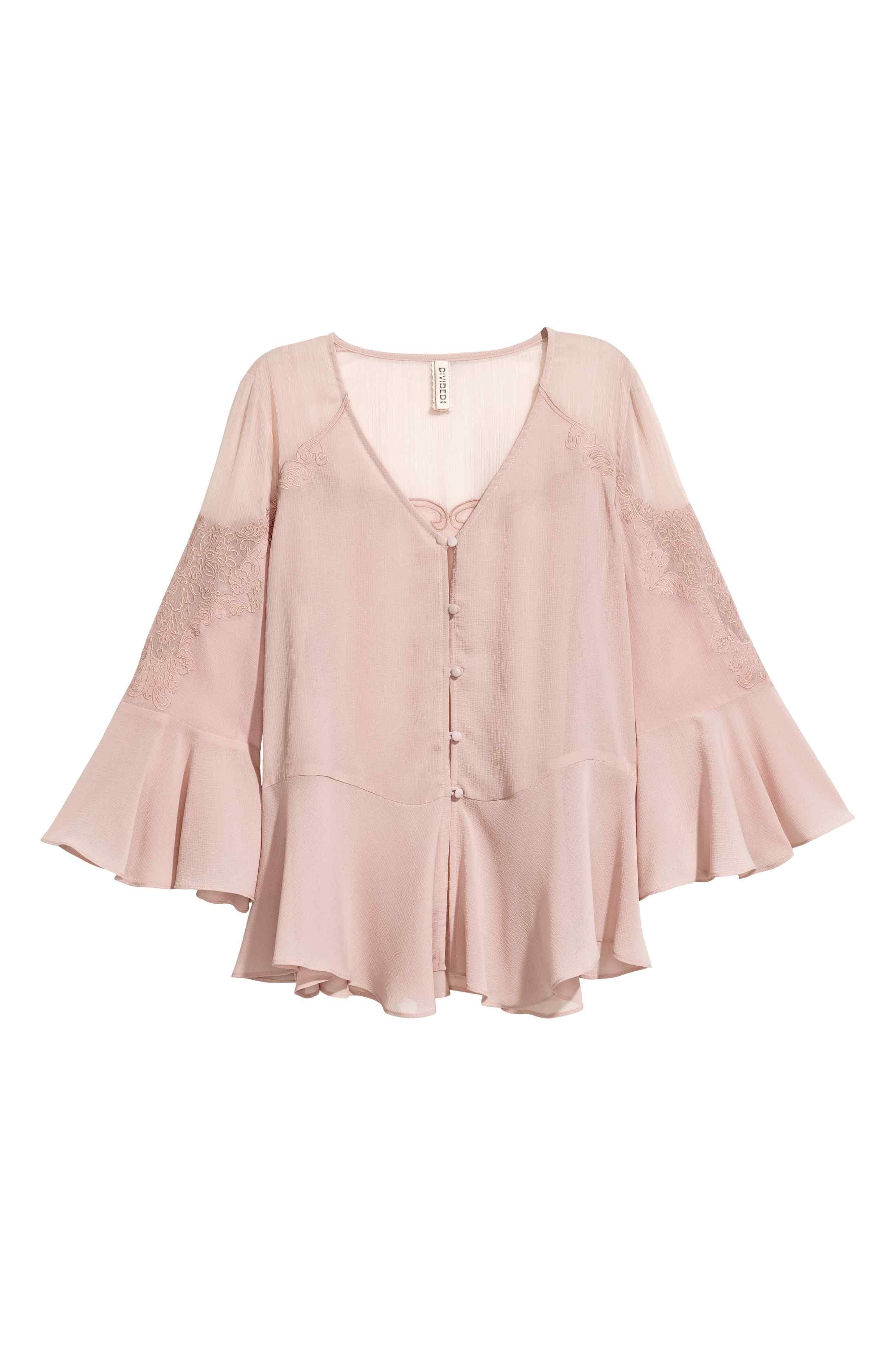 6b75599d865332 Wide chiffon blouse - Light old rose - Ladies