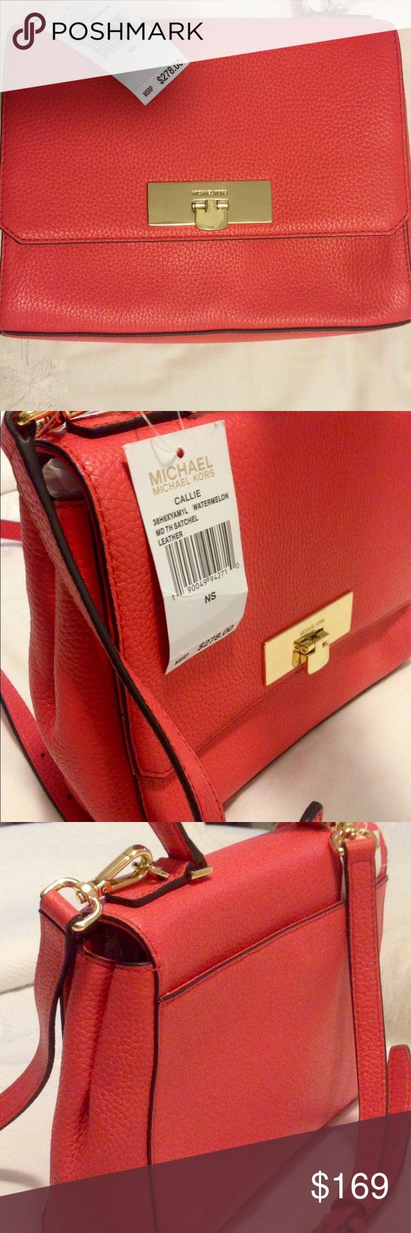 4638f664f20e Michael Kors Callie Med Leather Handbag Satchel NWT | My Posh Picks |  Pinterest | Leather handbags, Handbags and Satchel