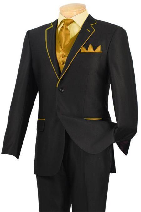 New Tuxedo Black With Gold Carmel Trim Two Button Notch 5 Pc