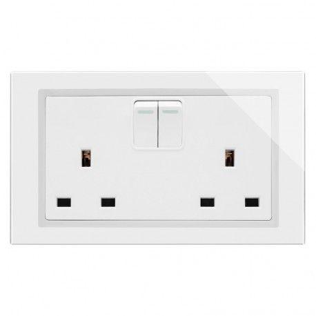 Retrotouch Crystal 13a Double Plug Sockets Double Pole White Ct 00650 Plug Socket Sockets Plugs