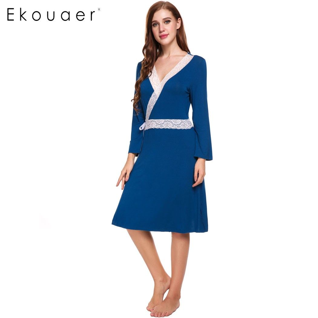 5612a953ee Ekouaer Lace Patchwork Robe Womens Long Sleeve Elegant Self Belt Cotton  Long Robe Spring Autumn Solid Home Clothing