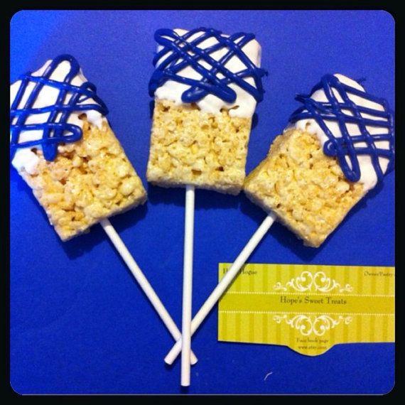 Dodger Blue rice crispy lollipops. 15.00 per by Hopessweettreats, $15.00