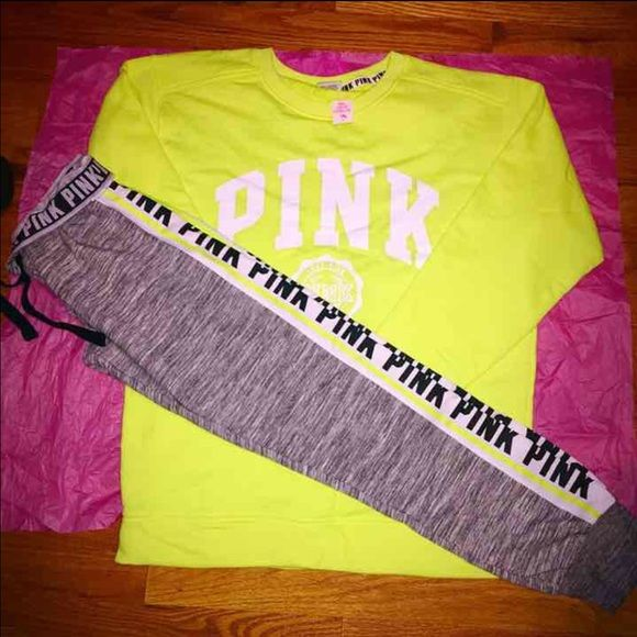 90$ nwt VS pink set (S/M) New with tags both  Top small but it's oversized fits true medium  Bottom is medium size PINK Victoria's Secret Other