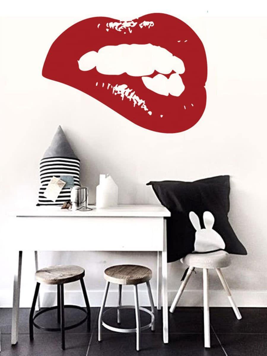 Lip print wall sticker sheinsheinside