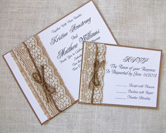 Items Similar To Rustic Lace Wedding Invitation Burlap Suite On Etsy
