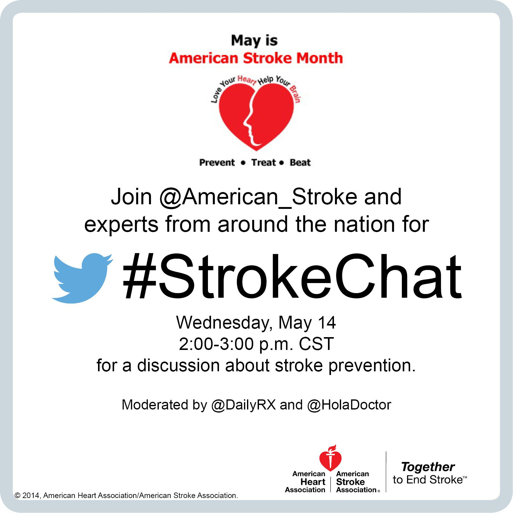 Can you prevent stroke? Learn more during StrokeChat 5/14