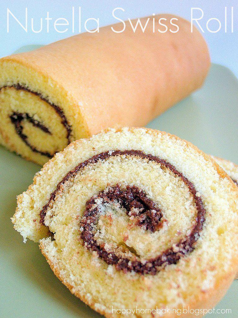 Nutella-Biskuitrolle | No cook desserts, Vanilla swiss ...
