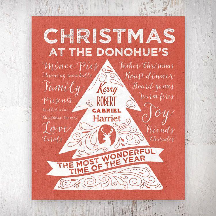 Personalised Rustic Red Christmas Tree Print