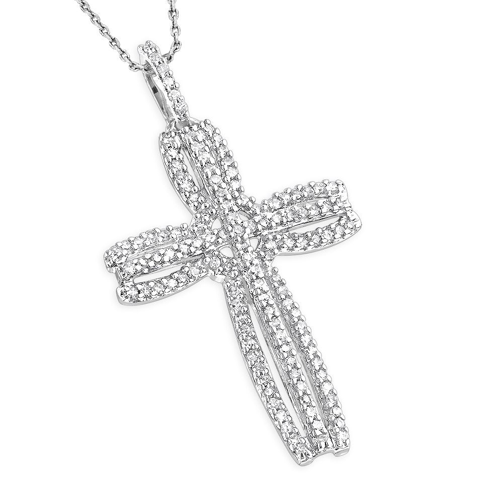 ad7ca0ee883598 Luxurman 14k Gold 1/4ct TDW Diamond Unique Cross Pendant - Free Shipping  Today - Overstock.com - 19782021 - Mobile