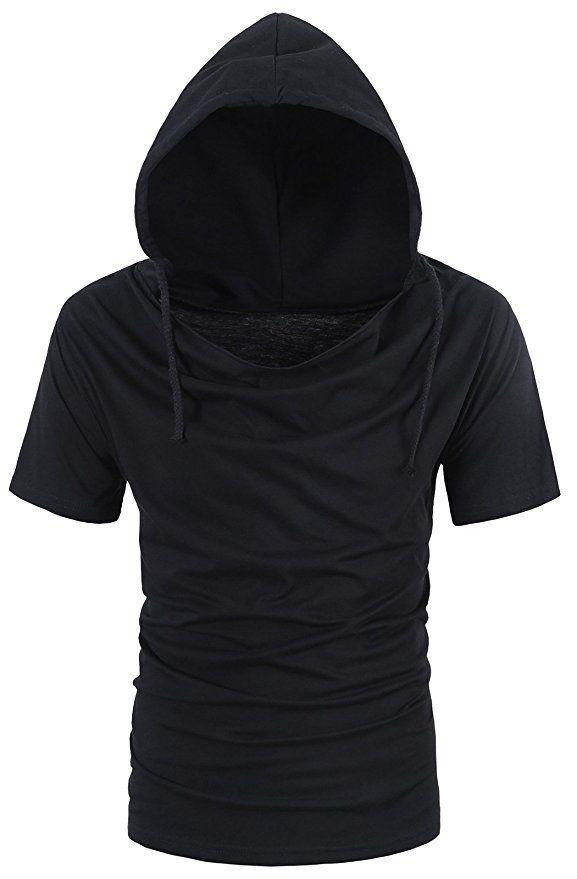 BESUMA Men Summer Hoodies T Shirt Short Sleeve Loose Casual Pullover Tops