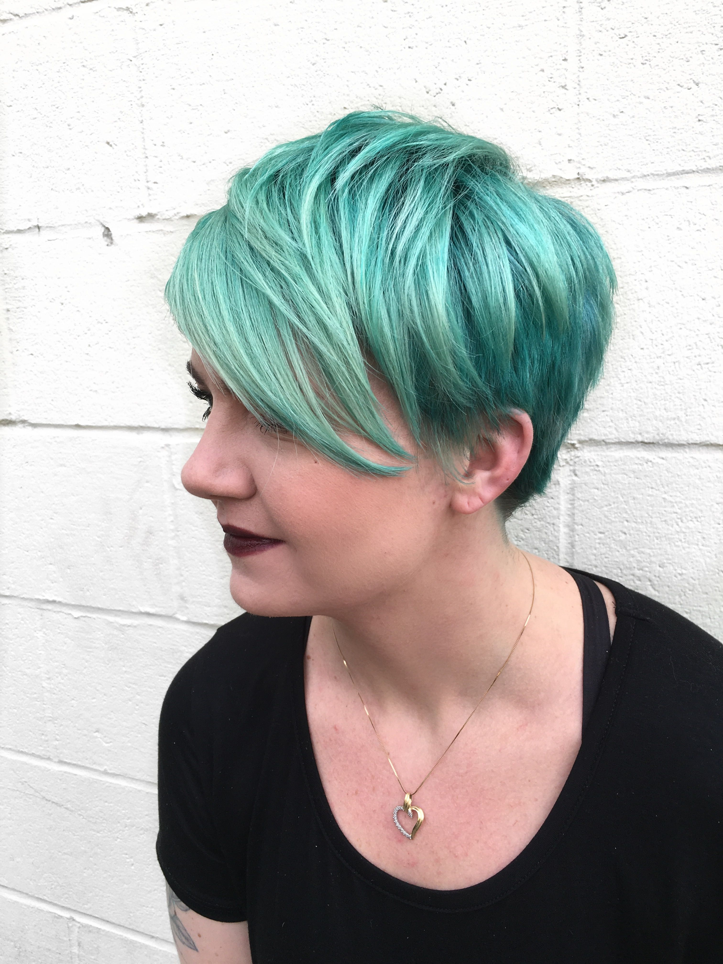 Our friends at citrus salon blew us away with this vibrant teal blue