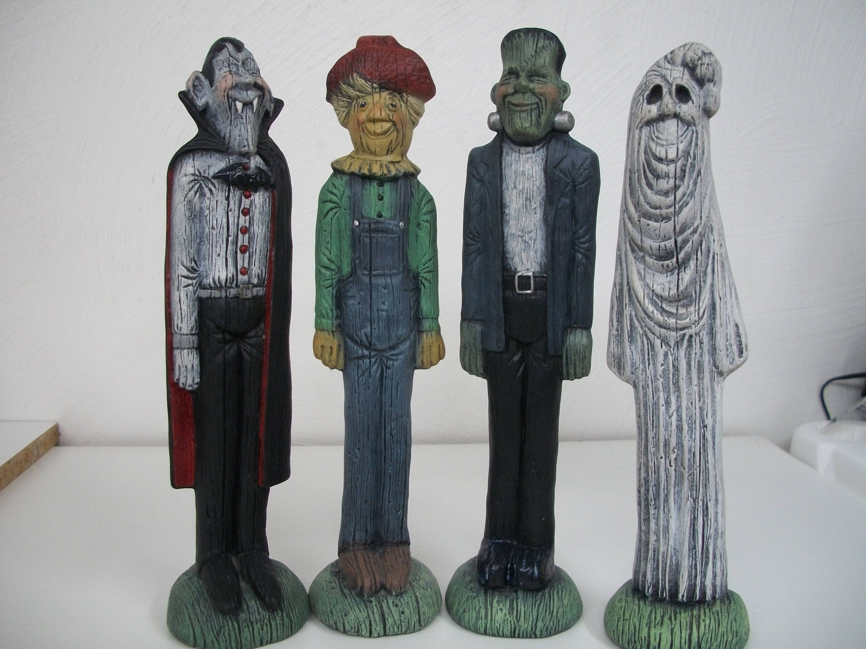 ceramic halloween vampirefrankensteinghostscarecrow halloween decorations set of 4 by cathysceramics - Vampire Halloween Decorations
