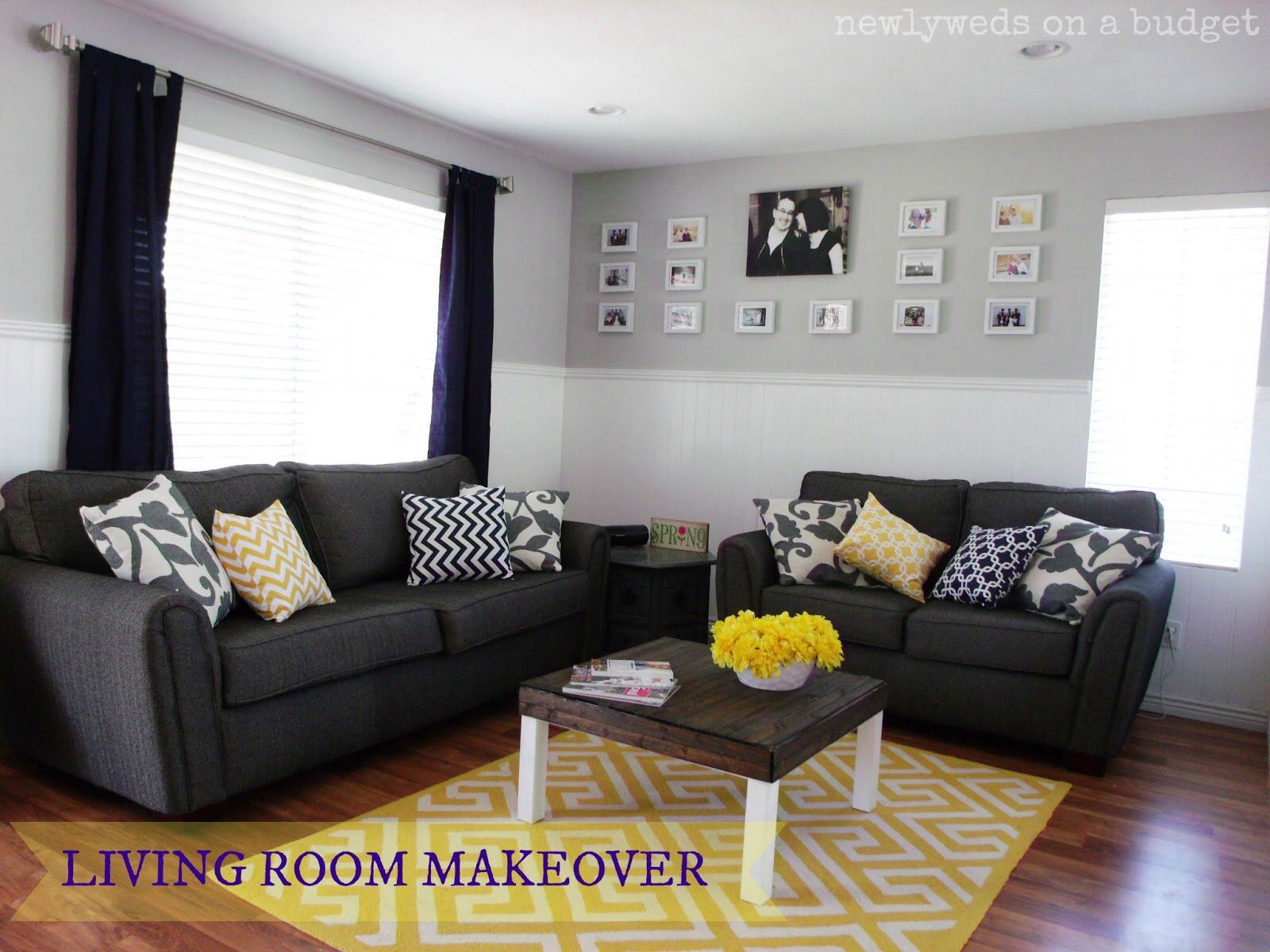 Living room inspiration for san diego lighter gray couch with the blue carpet yellow accent might be the kicker