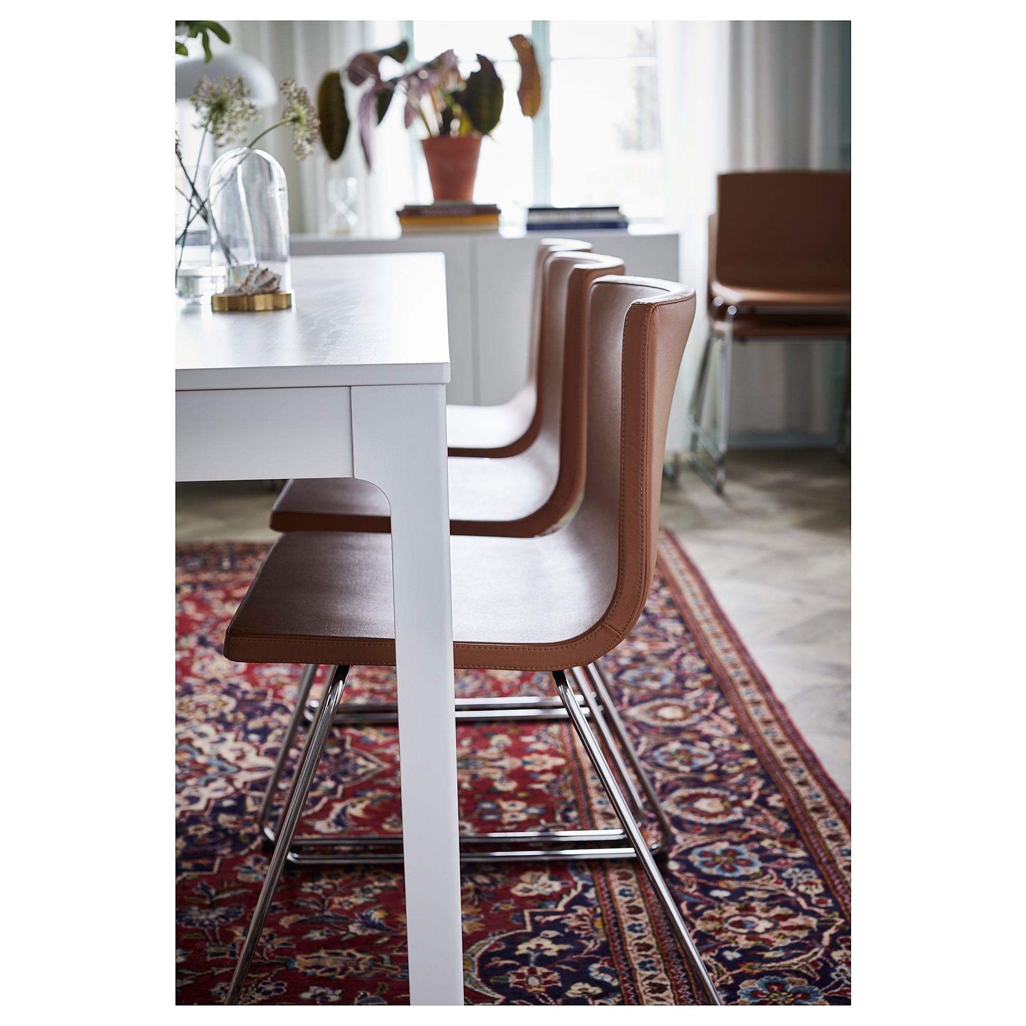 IKEA BERNHARD Chair chrome plated, Mjuk golden brown
