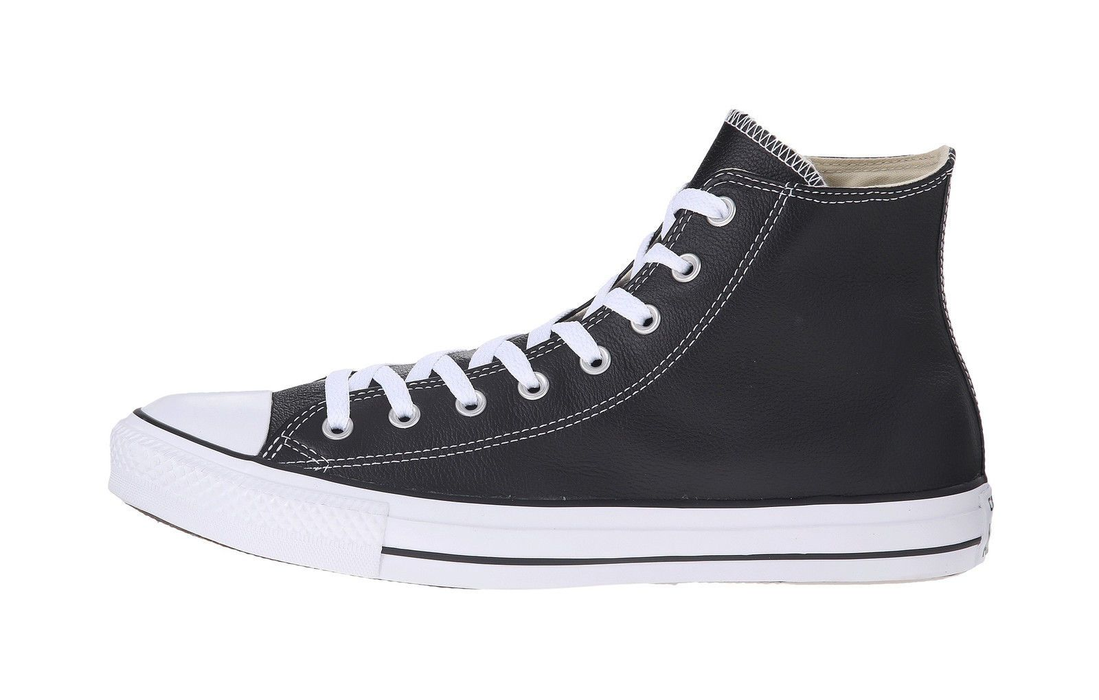bf99dd00e868 Converse Men Unisex All Star Hi Top Leather Shoes Black White Chuck Taylor   63.0 End Date