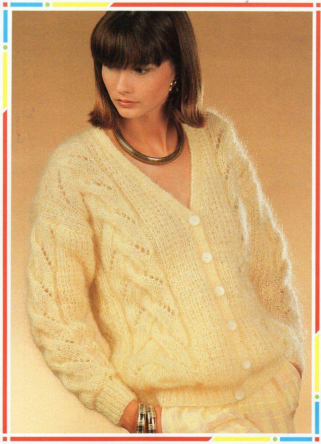 ladies mohair cardigan knitting pattern pdf womens chunky mohair ...