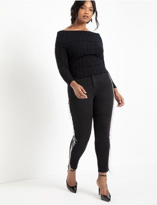 Skinny Jean with Fringe | Women's Plus Size Pants | ELOQUII 2