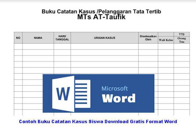 Contoh Buku Catatan Kasus Siswa Download Gratis Format Word Buku