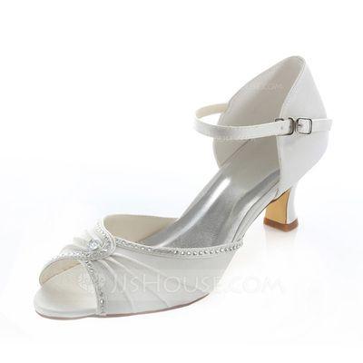 51f1e6a56b4  US  53.99  Women s Satin Spool Heel Peep Toe Pumps With Rhinestone  (047087143)
