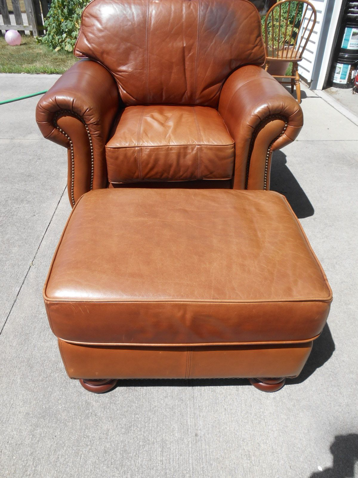 leather Thomasville club chair ottoman Ohio http//stores
