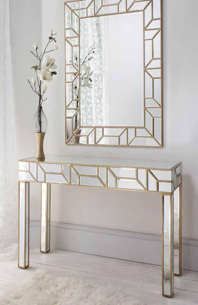 Merveilleux Geometria Gold U0026 Mirrored Console Table U0026 Mirror Set U2013 Shropshire Design