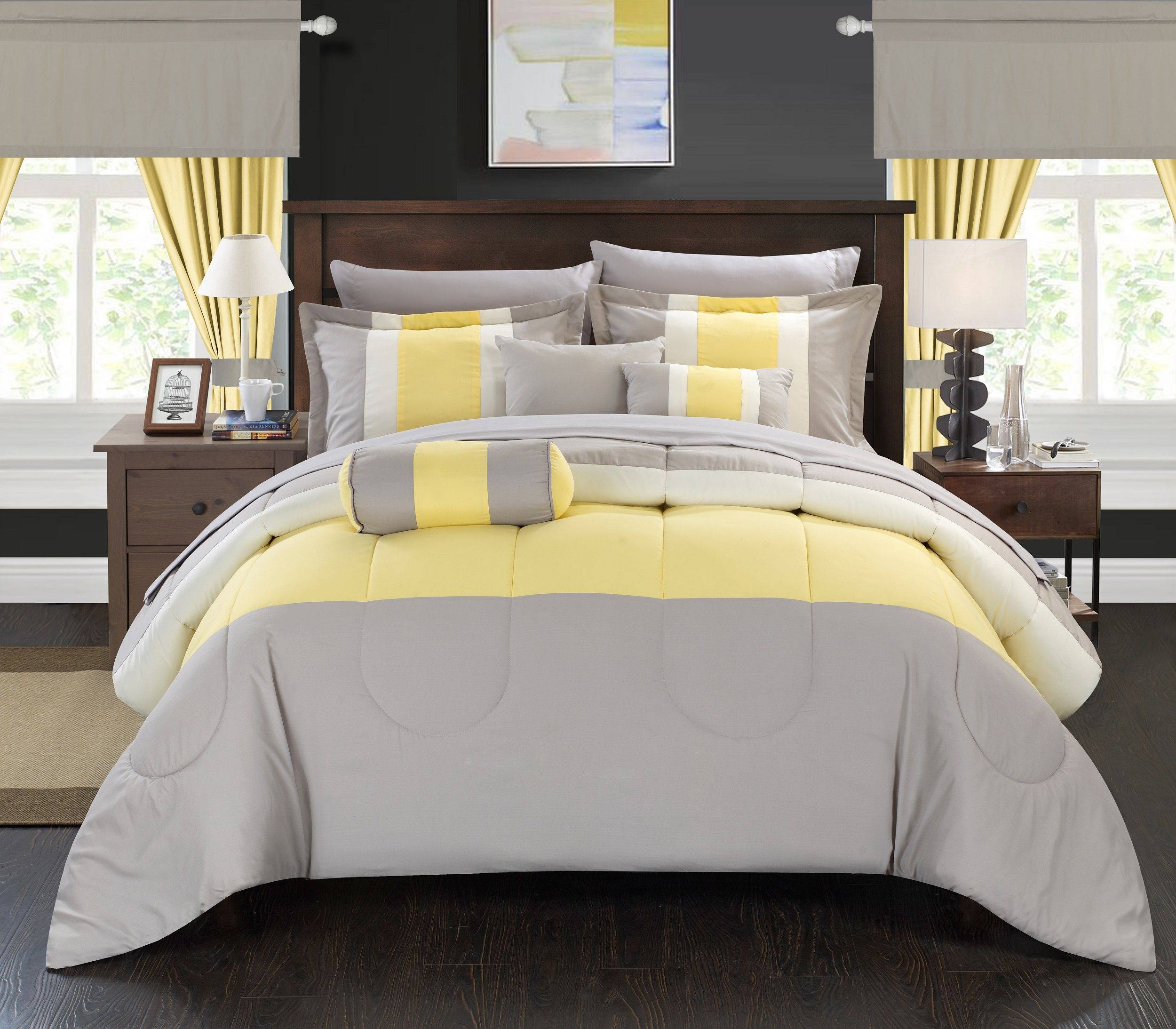 Gray and yellow window treatments - This Four Piece Floral Patterned Comforter Set By Mi Zone Livens Up Your Existing Bedroom Decor With Pops Of Vibrant Yellow Dark Grey And Black Accents